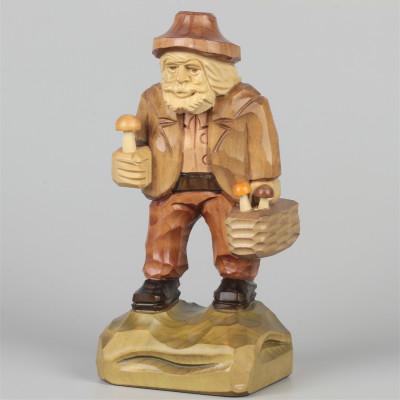 Geschnitzter Pilzsammler farbig, 19 cm