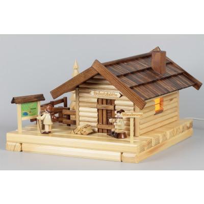 Lichterhaus Räucherhaus Blockhütte Schutzhütte mit Figuren