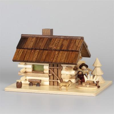 Räucherhaus Blockhütte Haus am See mit Gärtnerin
