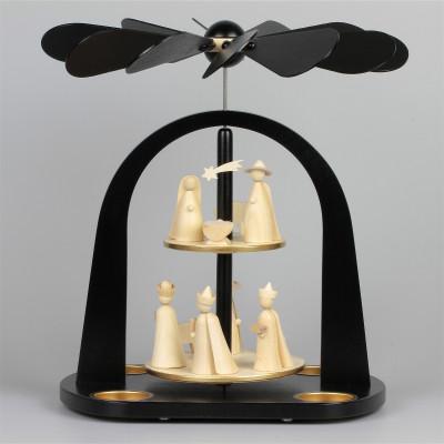 Moderne Teelichtpyramide Christi Geburt schwarz, 2-stufig