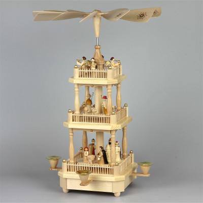 Pyramide Christi Geburt, 2-stöckig, natur