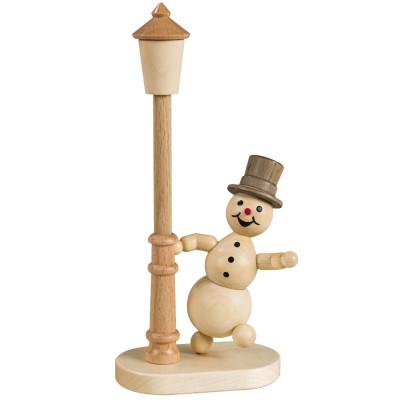 Schneemann an der Laterne