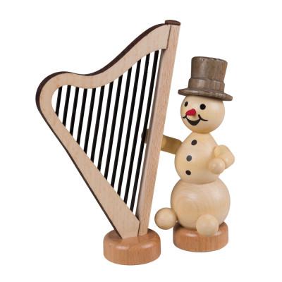 Schneemannmusikant mit Harfe