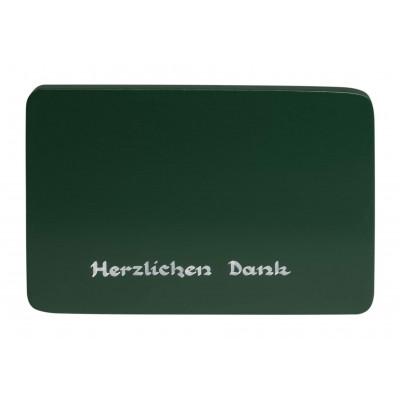 Beschriftete Sockelplatte grün Herzlichen Dank