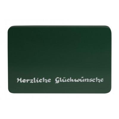 Beschriftete Sockelplatte grün Herzliche Glückwünsche
