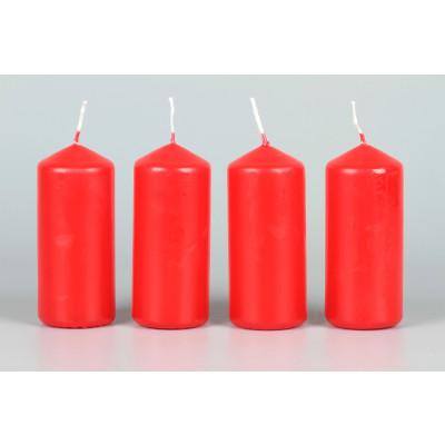 Stumpenkerzen rot 90 x 40 mm - 4 Stück