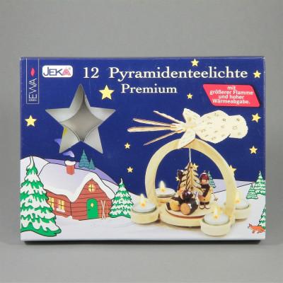 Teelichter für Pyramiden, 12 Stück, weiß, Aluminiumhülle