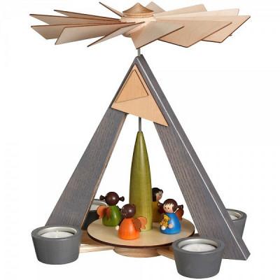 Teelichtpyramide grau mit Engelchen farbig
