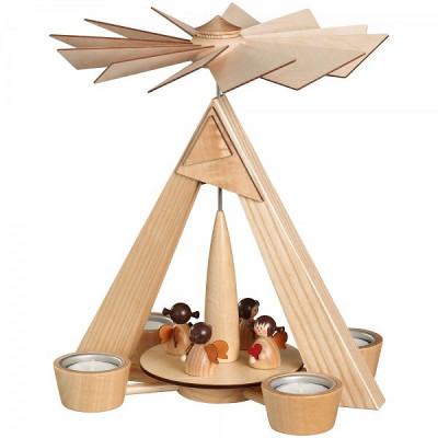 Teelichtpyramide mit Engelchen natur