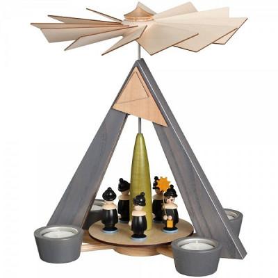 Teelichtpyramide grau mit Kurrende schwarz