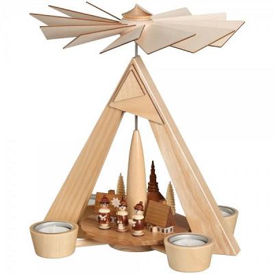 Teelichtpyramide Seiffener Dorf mit Kurrende natur