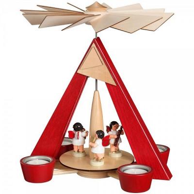 Teelichtpyramide rot mit Engeln