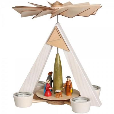 Teelichtpyramide weiß mit Christi Geburt bunt