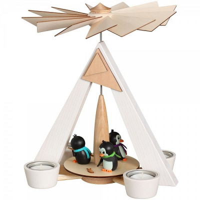 Teelichtpyramide weiß mit Pinguinen