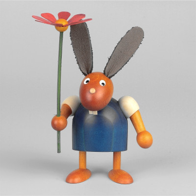 Hase mit Blume, blau, 7 cm