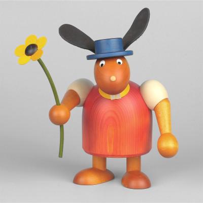 Hase mit Hut und Blume, rot, 17 cm