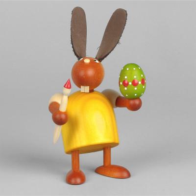 Hase mit Pinsel und Ei, gelb, 7 cm