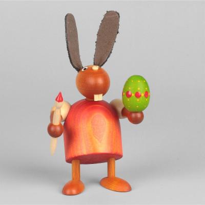 Hase mit Pinsel und Ei, rot, 7 cm