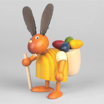 Hase mit Eierkiepe, gelb, 7 cm