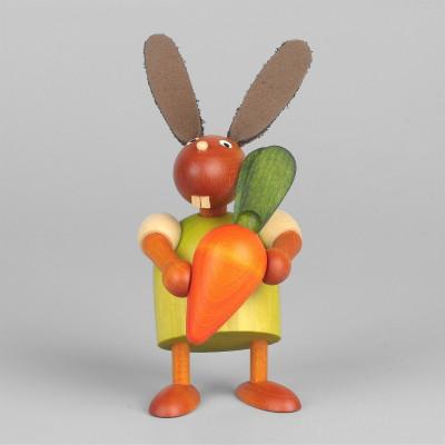 Hase mit oranger Möhre, grün, 7 cm