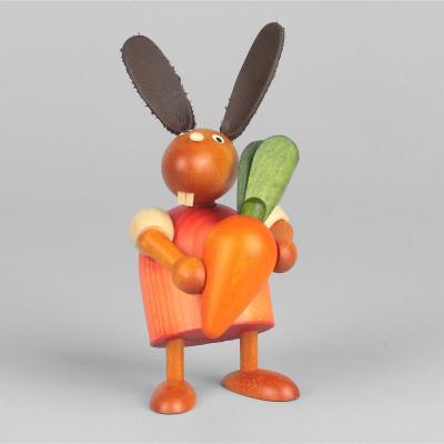 Hase mit oranger Möhre, rot, 7 cm