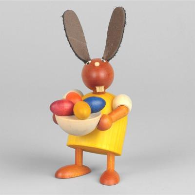 Hase mit Osternest, gelb, 7 cm