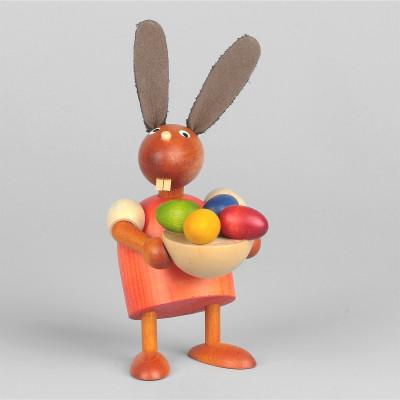 Hase mit Osternest, rot, 7 cm