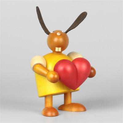 Hase mit Herz, gelb, 11 cm