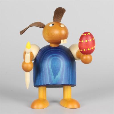 Hase mit Pinsel und Ei, blau, 11 cm