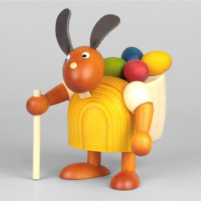 Hase mit Eierkiepe, gelb, 11 cm
