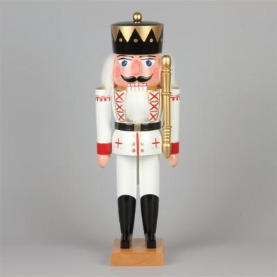 Original Seiffener Nussknacker König mit Zepter, weiß