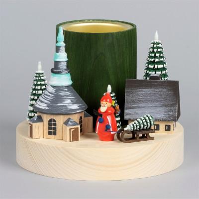 Teelichthalter Winterdorf Seiffen mit Weihnachtsmann