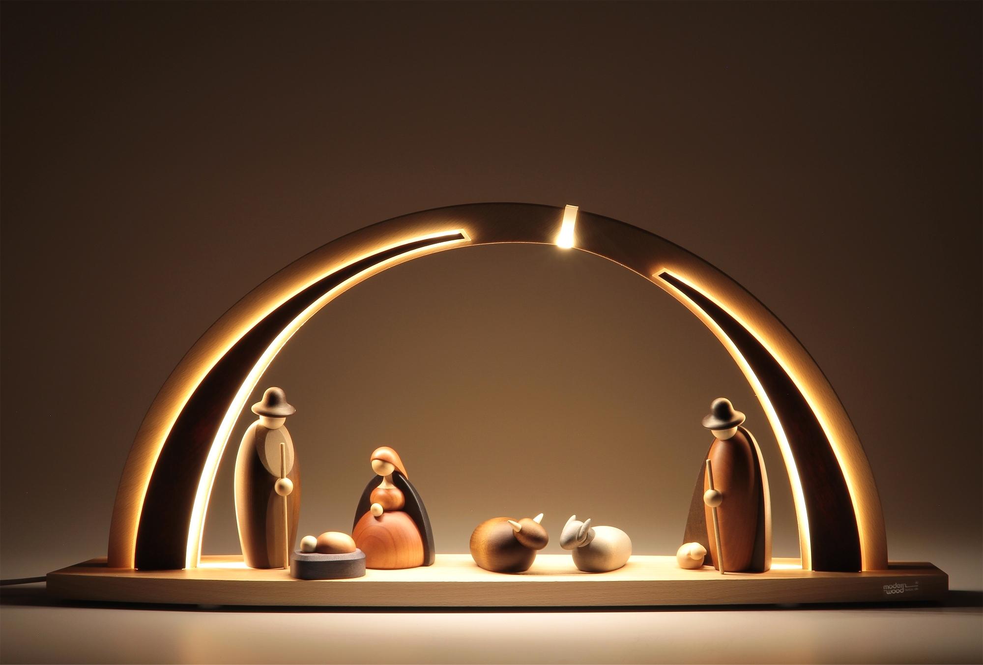 LED-Schwibbogen mit Björn Köhler Krippe Figuren