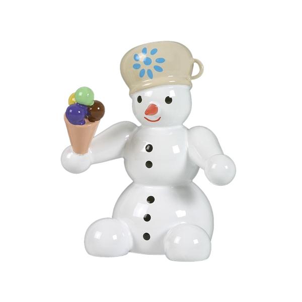 Schneemann sitzend mit Eis