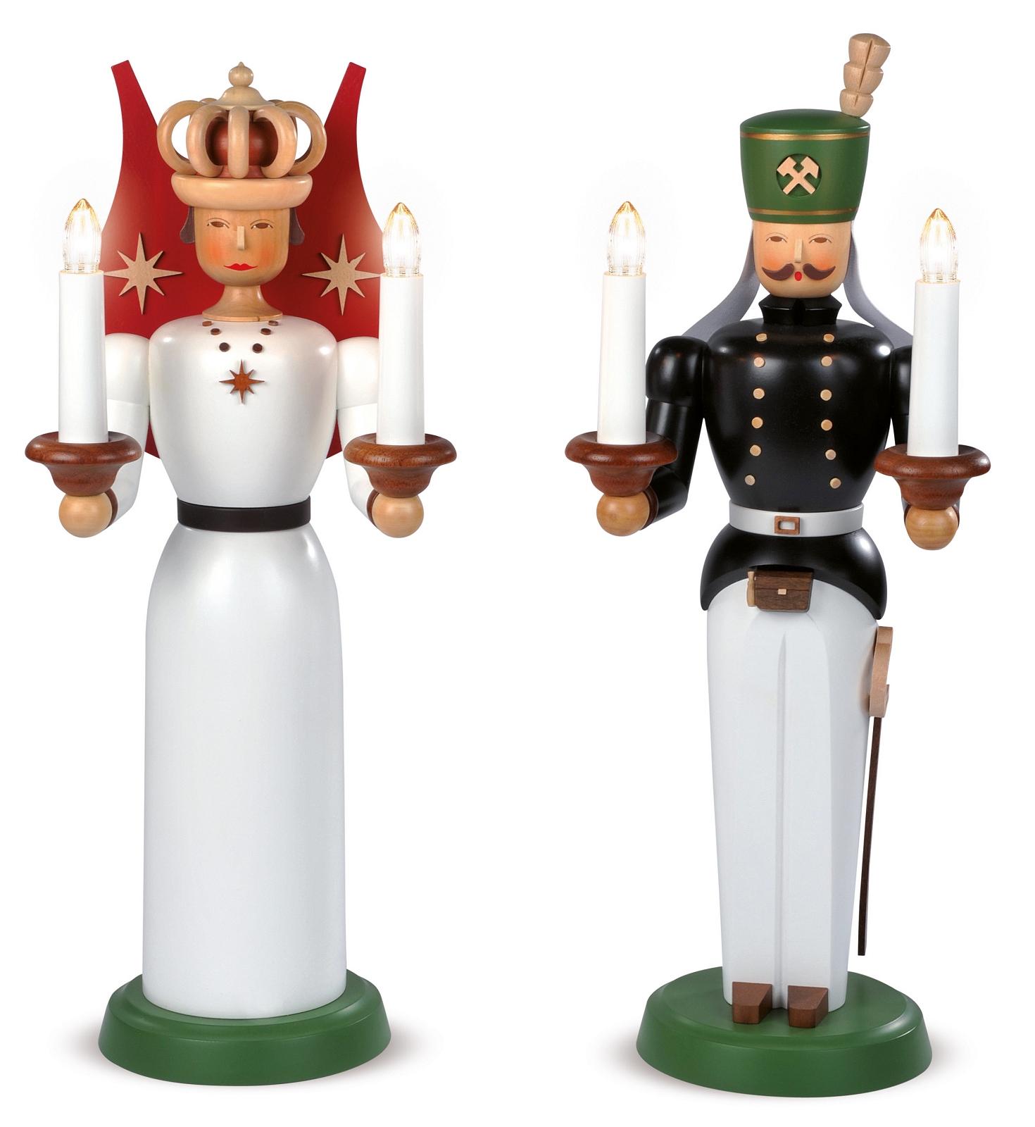 Engel und Bergmann Figuren, groß, farbig