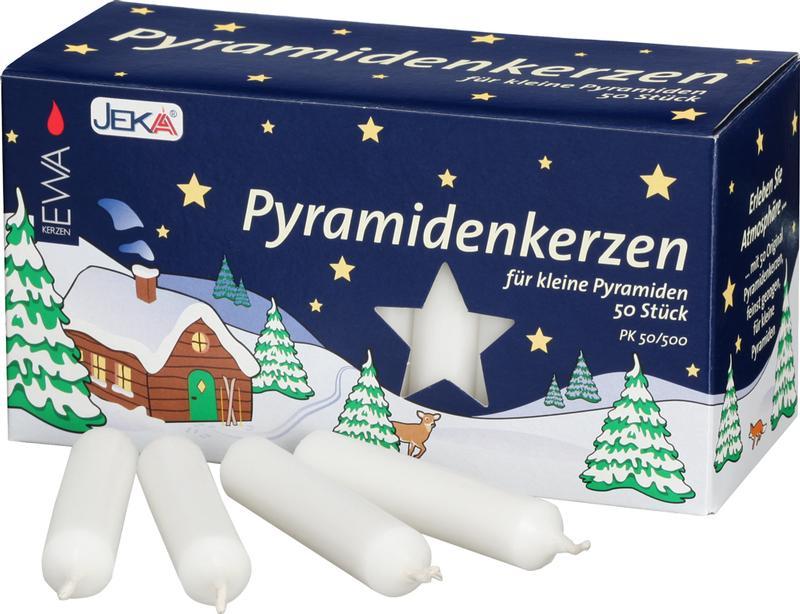 Pyramidenkerzen weiß, 50 Stück, 14 mm