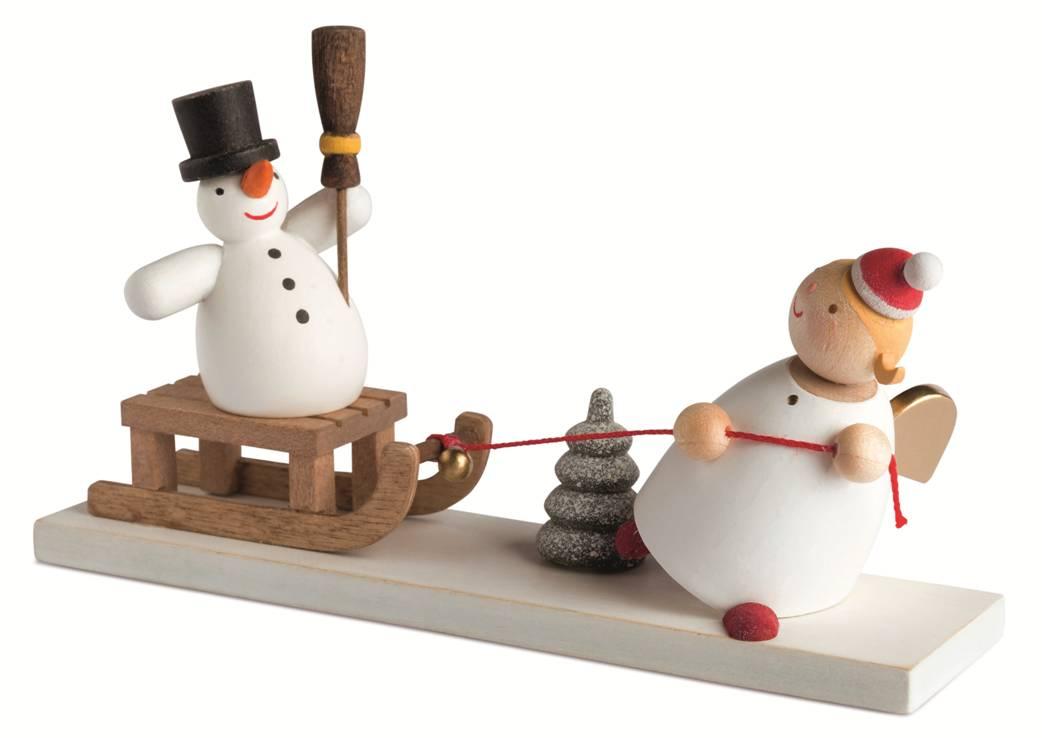 Schutzengel mit Schneemannschlitten