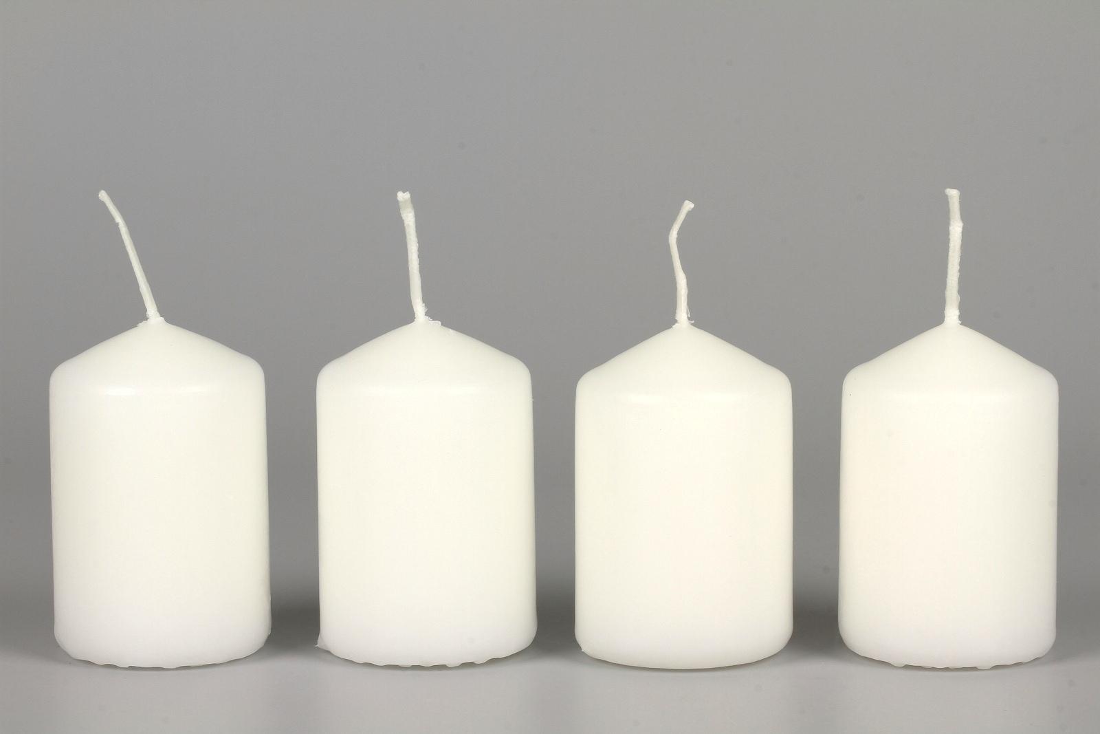 Stumpenkerzen für Teelichtpyramiden, 60 mm, weiß, 4 Stück