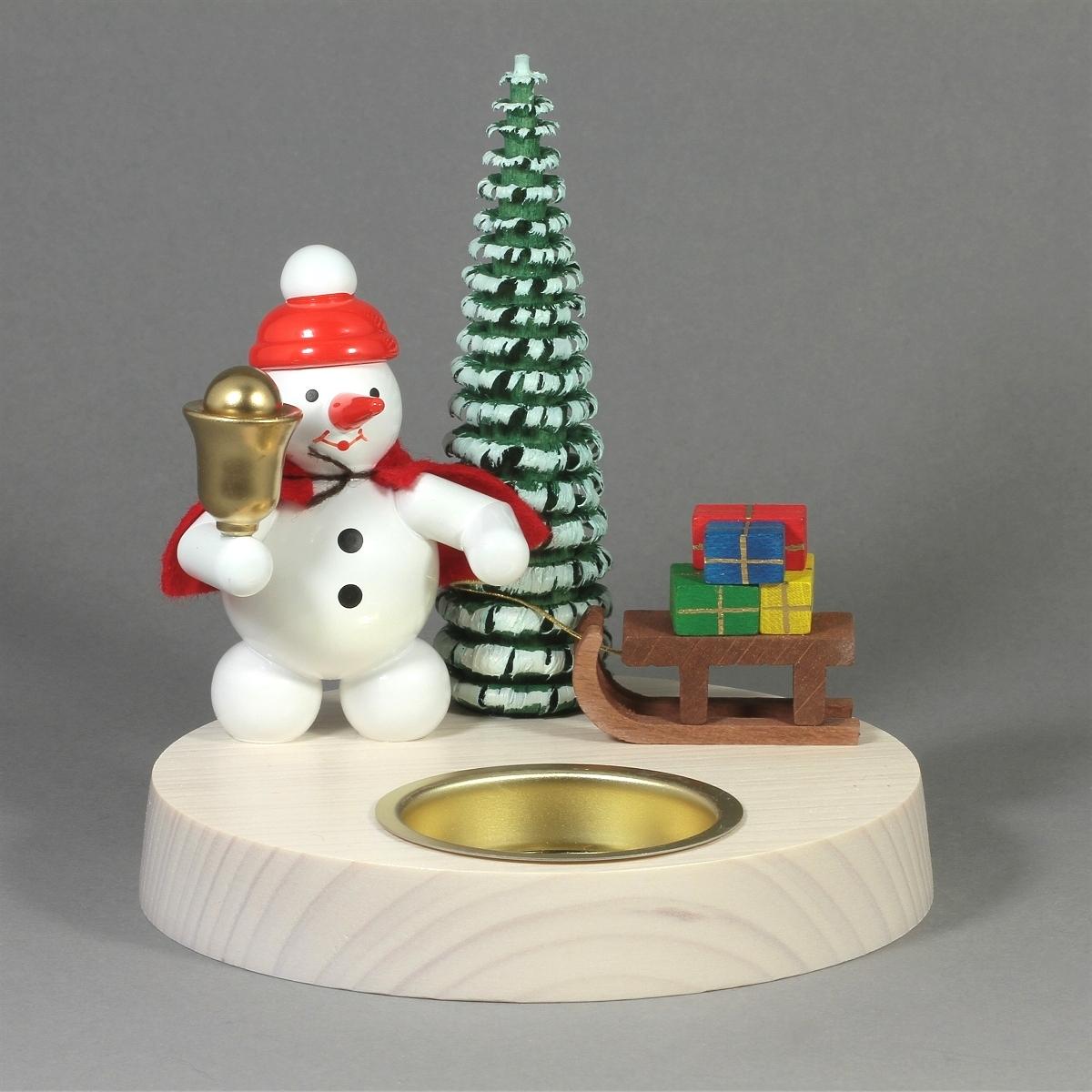 Teelichthalter Schneemann als Weihnachtsmann