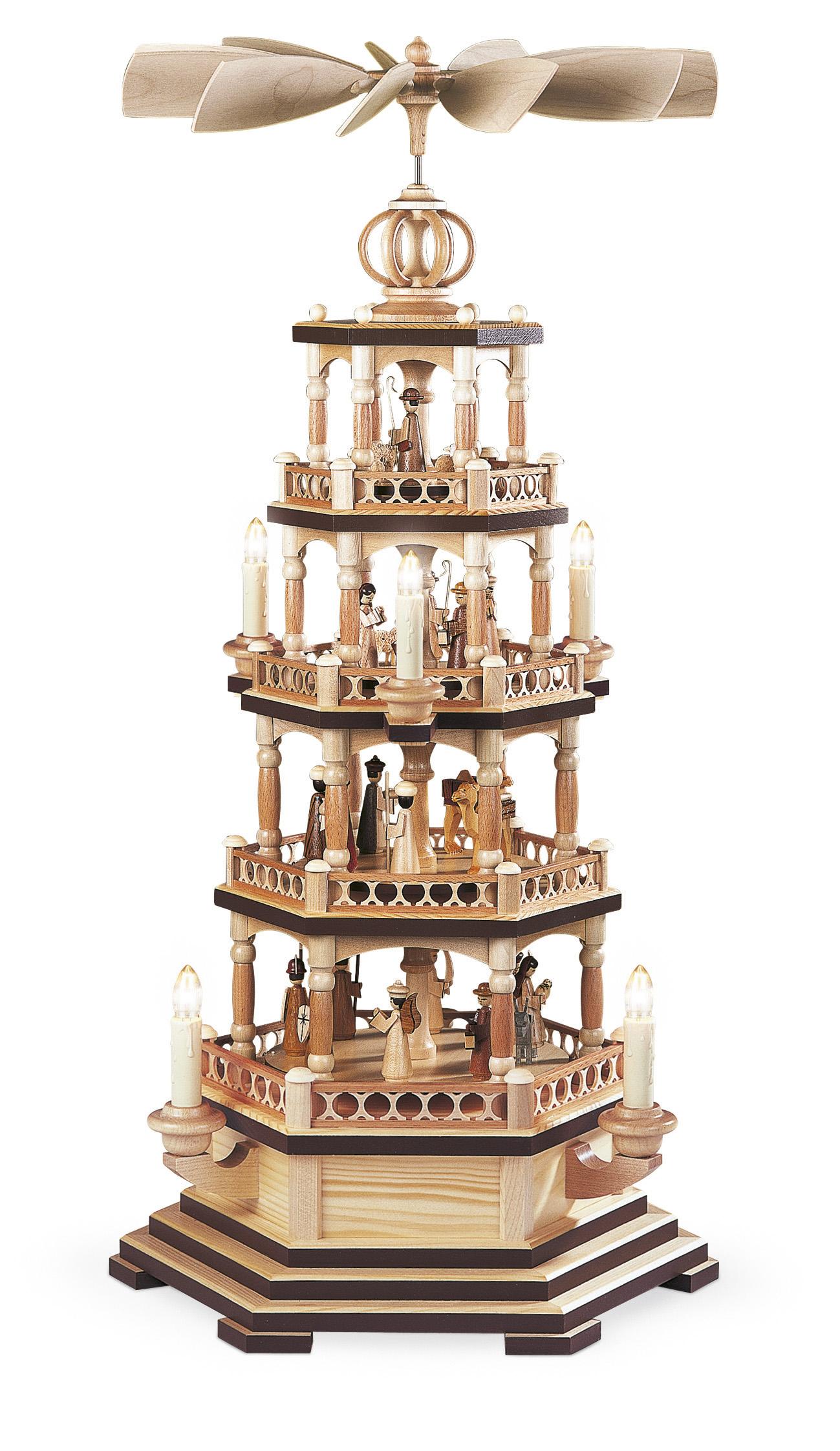 Pyramide mit Heiliger Geschichte 4-stöckig, elektrisch