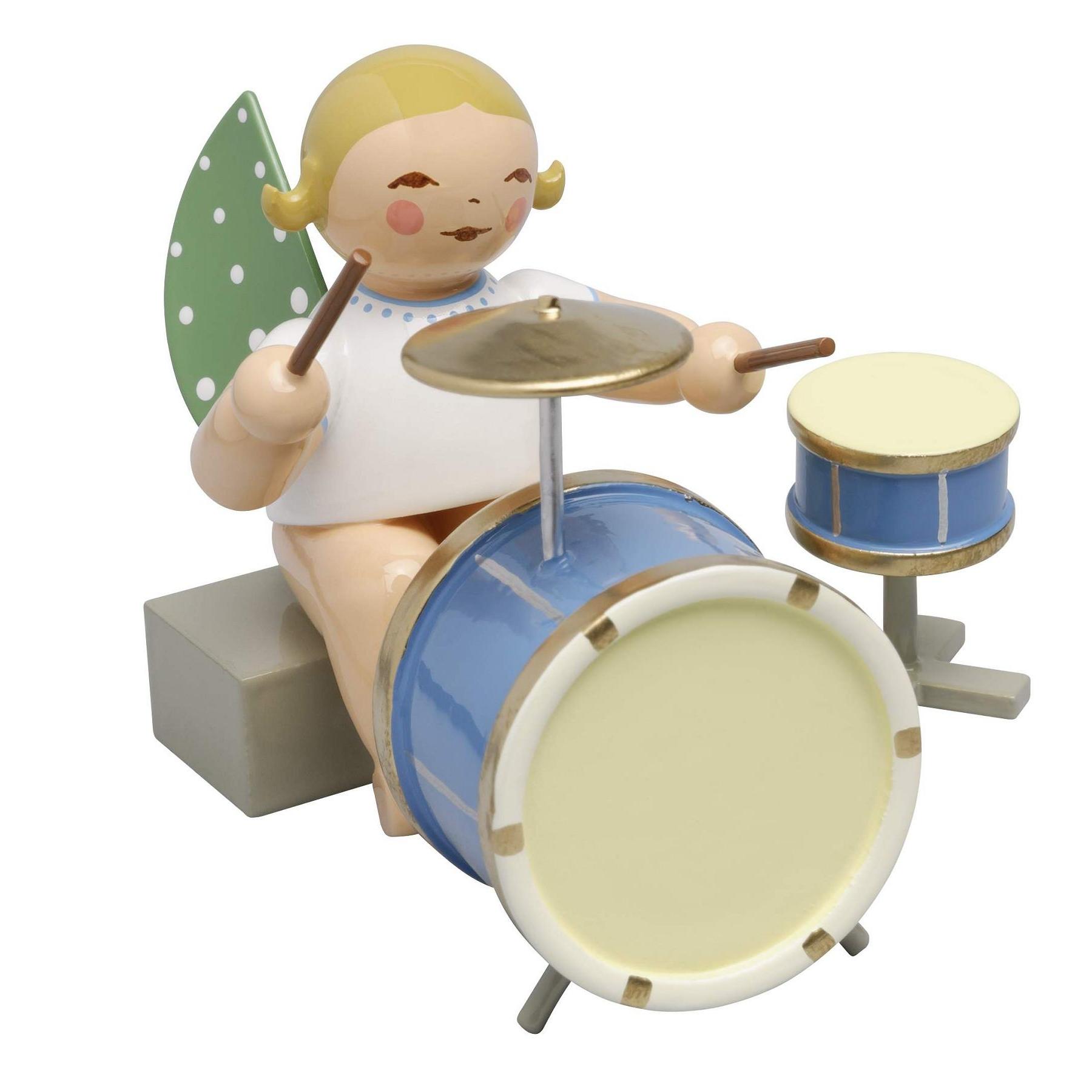 Engel mit zweiteiligem Schlagzeug, blondes Haar